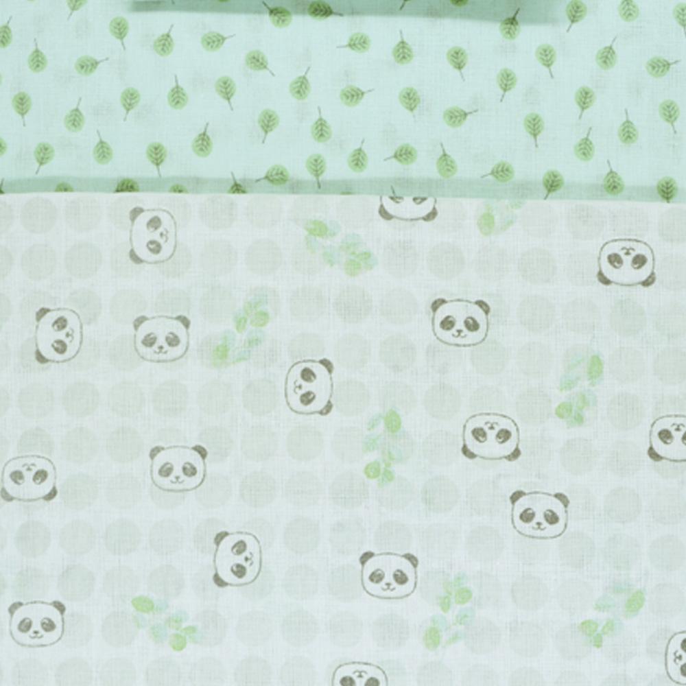 Jogo de Lençol Americano Papi Panda Verde