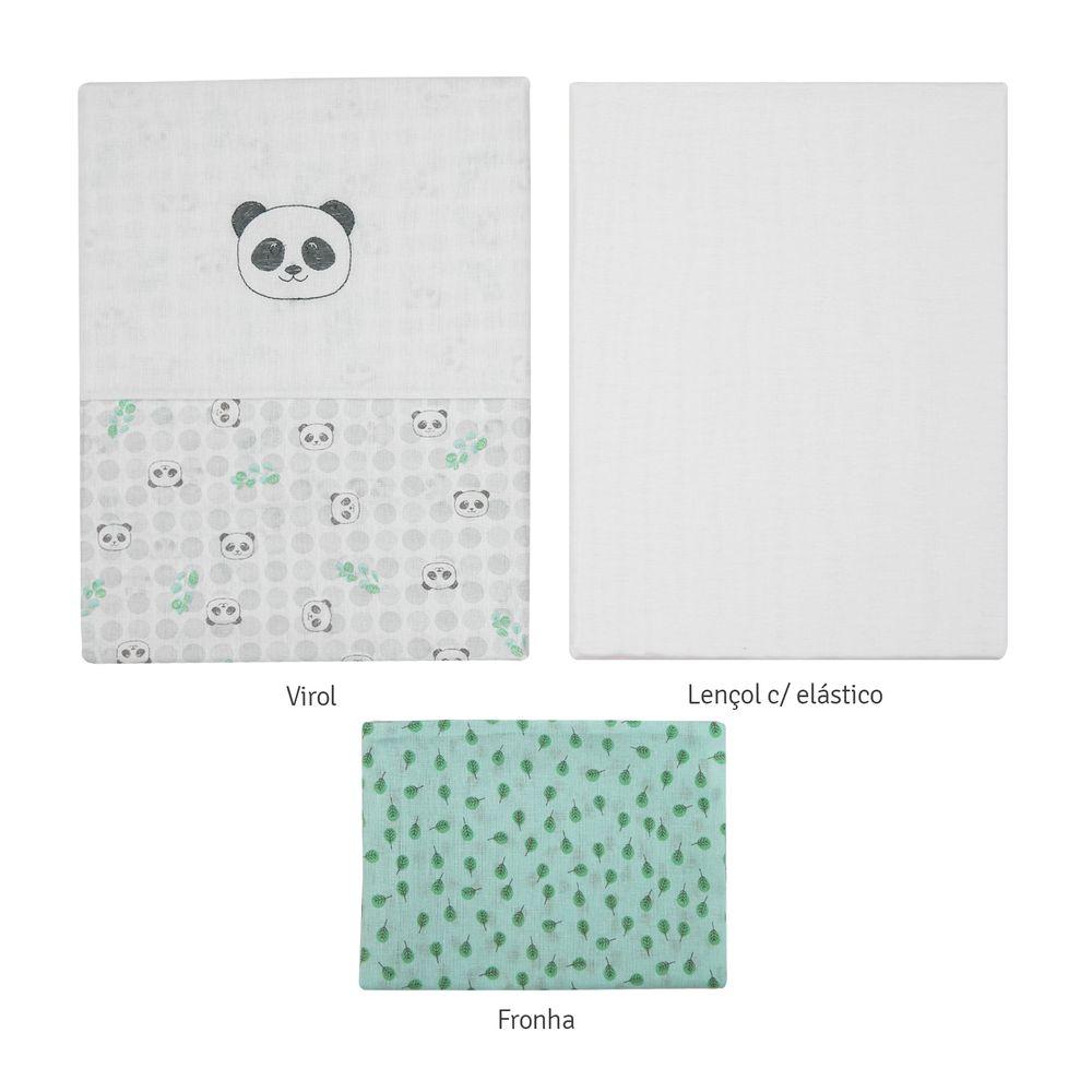 Jogo de Lençol Americano Papi Panda Verde Com Vira Bordado