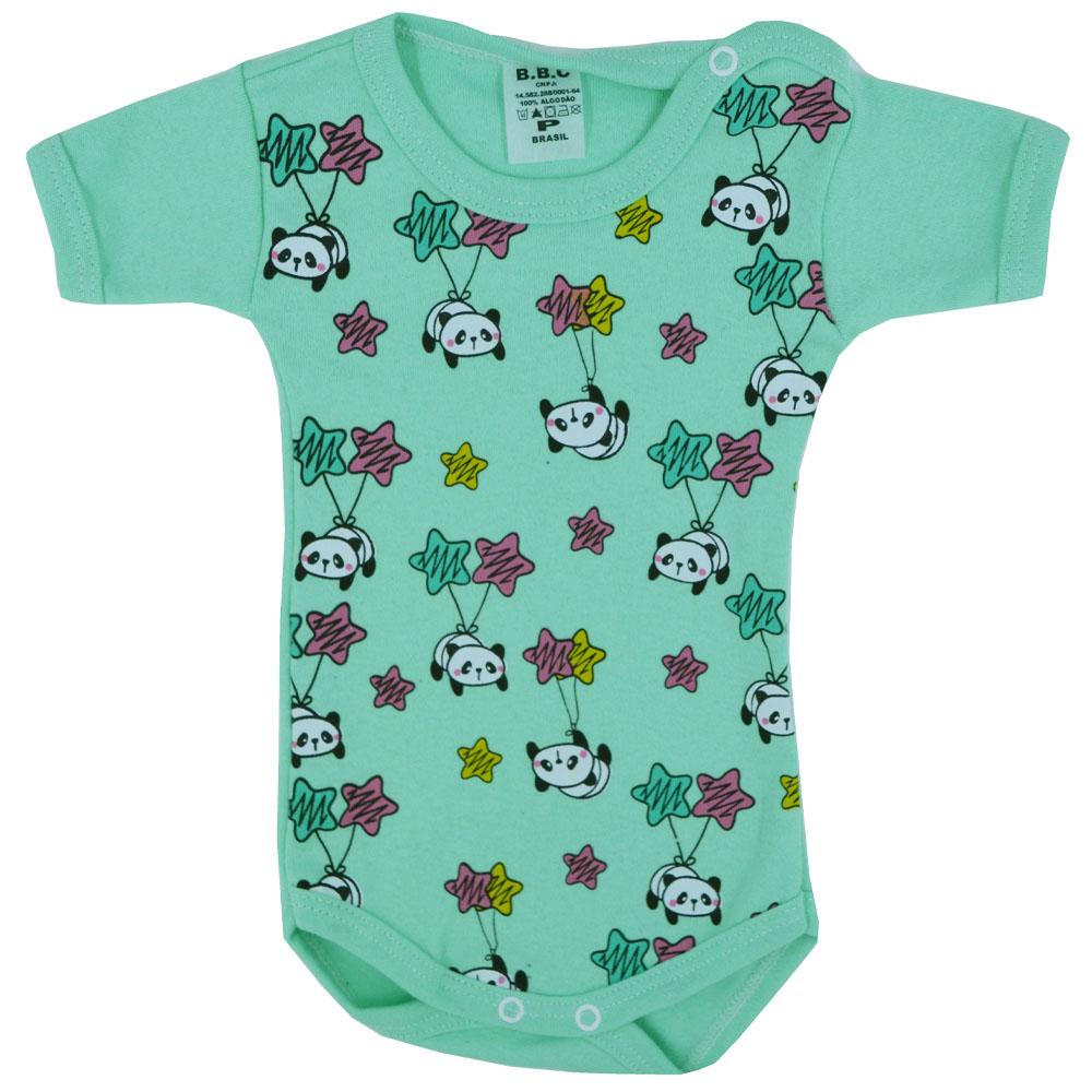 Kit Body Panda Verde Suedine (P/M/G) 3Pçs