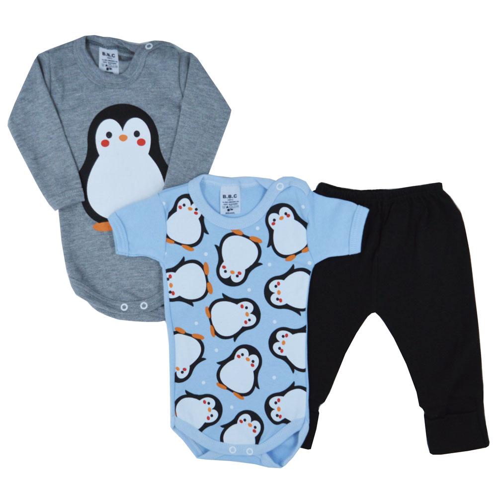 Kit Body Pinguim Suedine (P/M/G) 3Pçs