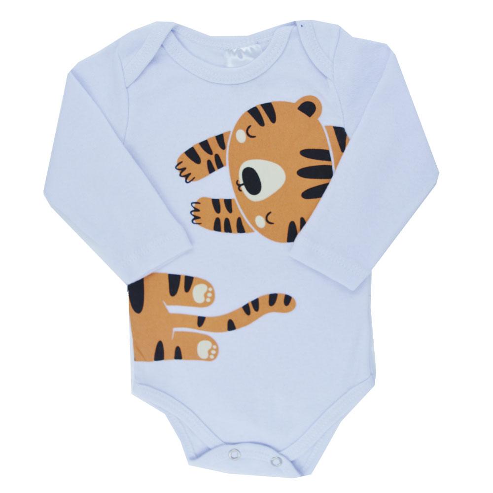 Kit Body Tigre Branco Ribana (P/M/G) 3Pçs