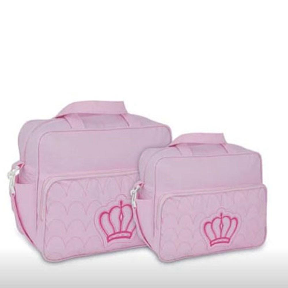 Kit Bolsa Maternidade 2 Pçs Azul C/ Bege Coroa Ludy Baby
