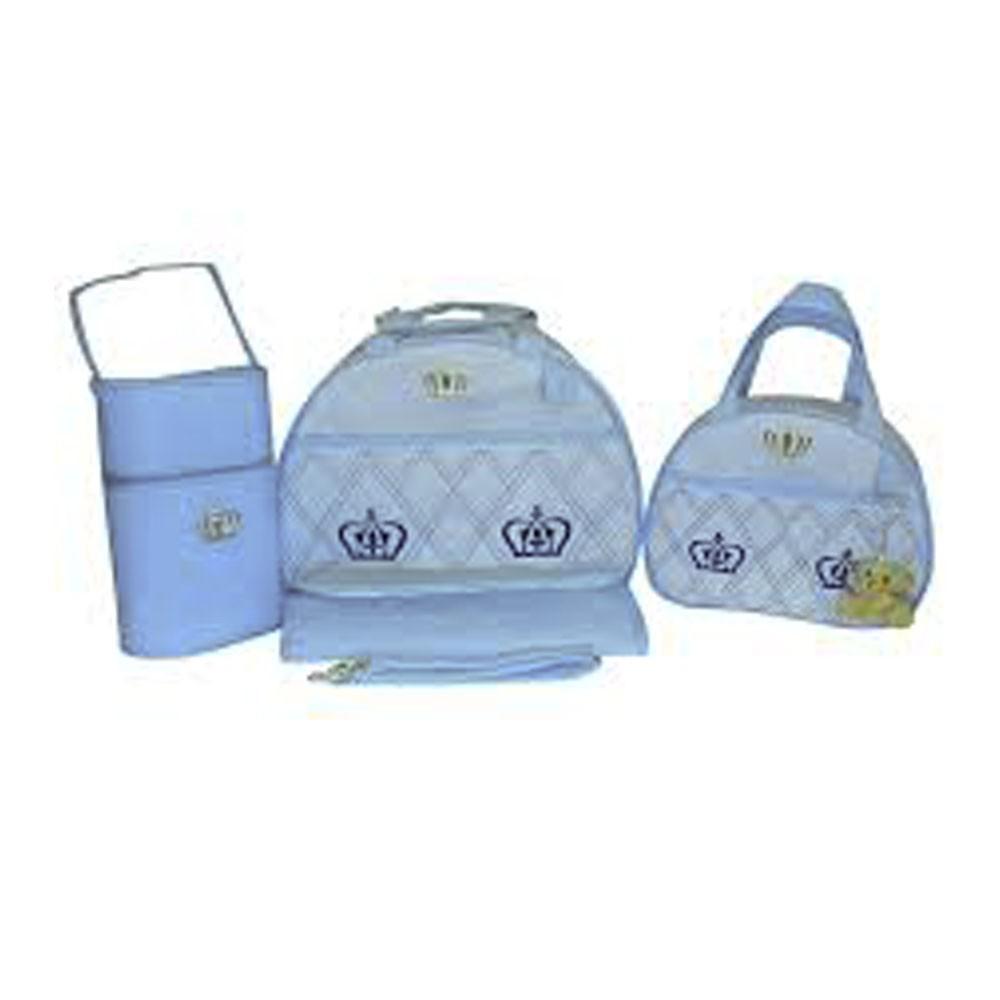 Kit Bolsa Maternidade Coroa 4 Pçs Azul LB. 1011