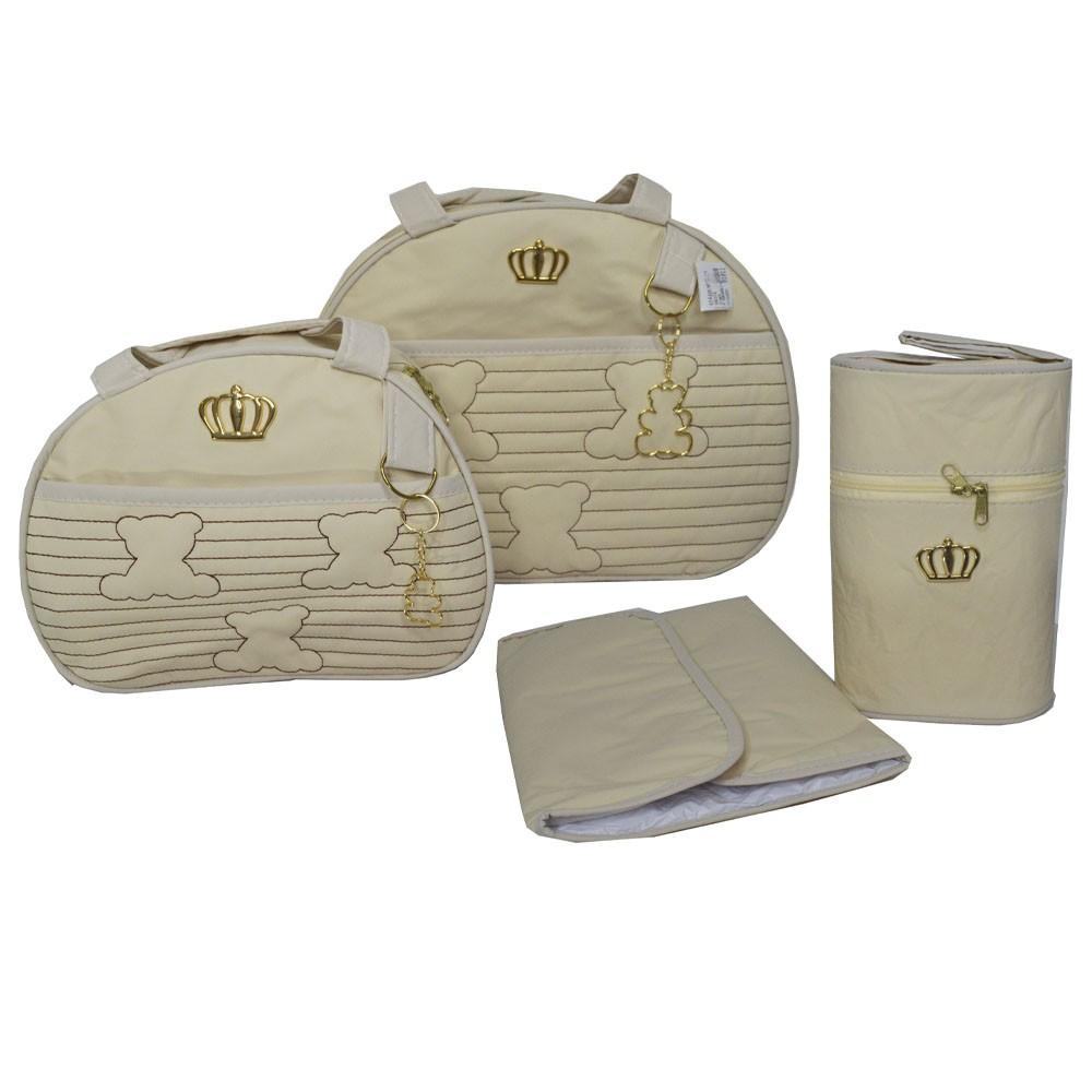 Kit Bolsa Maternidade Coroa 4 Pçs Bege LB. 1011