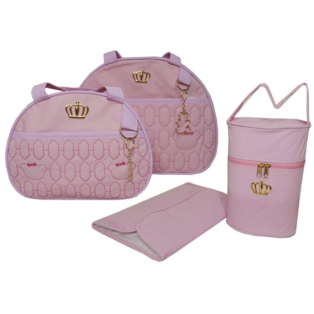 Kit Bolsa Maternidade Coroa 4 Pçs Rosa LB. 1011