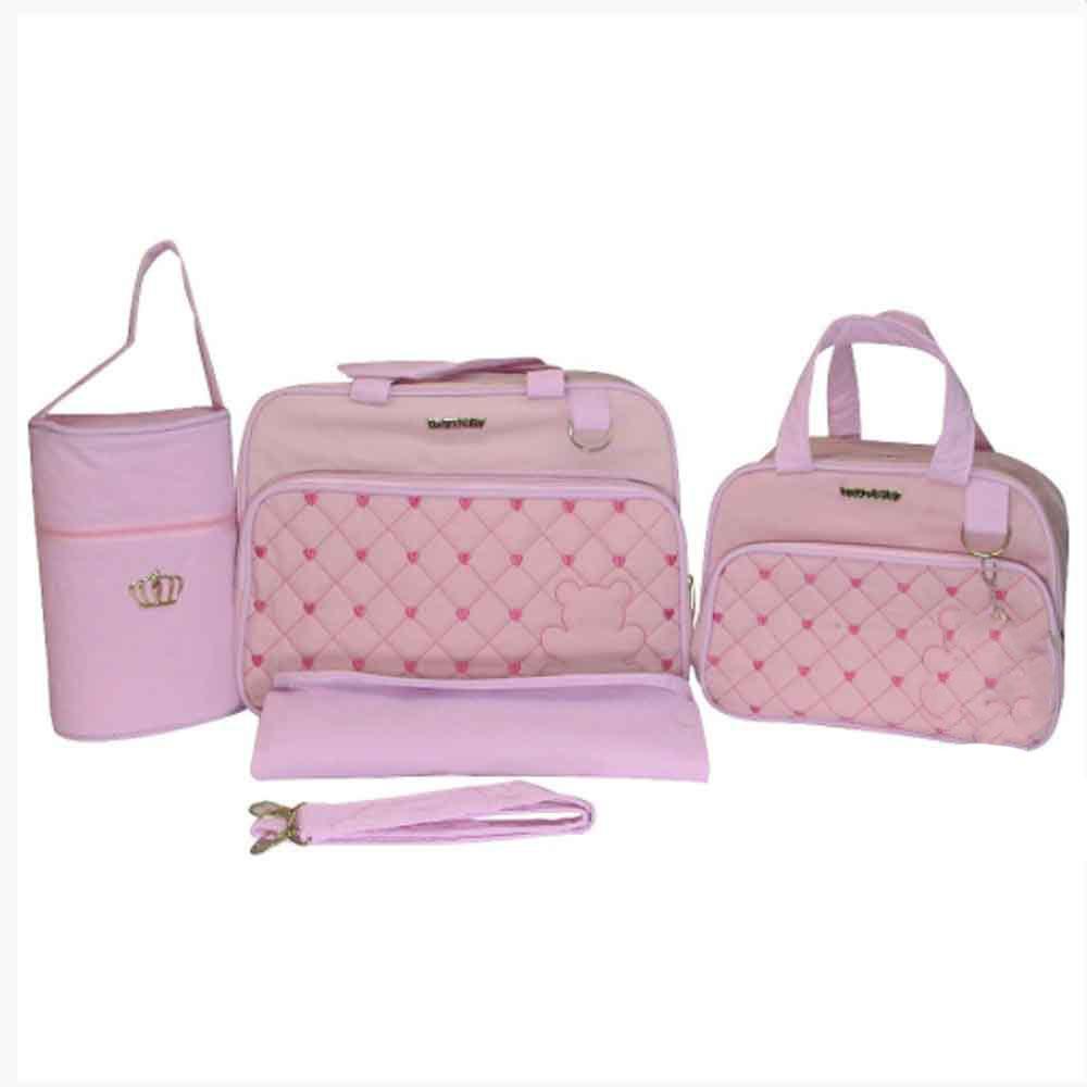 Kit Bolsa Maternidade Ursinha 4 Pçs Rosa LB. 8081
