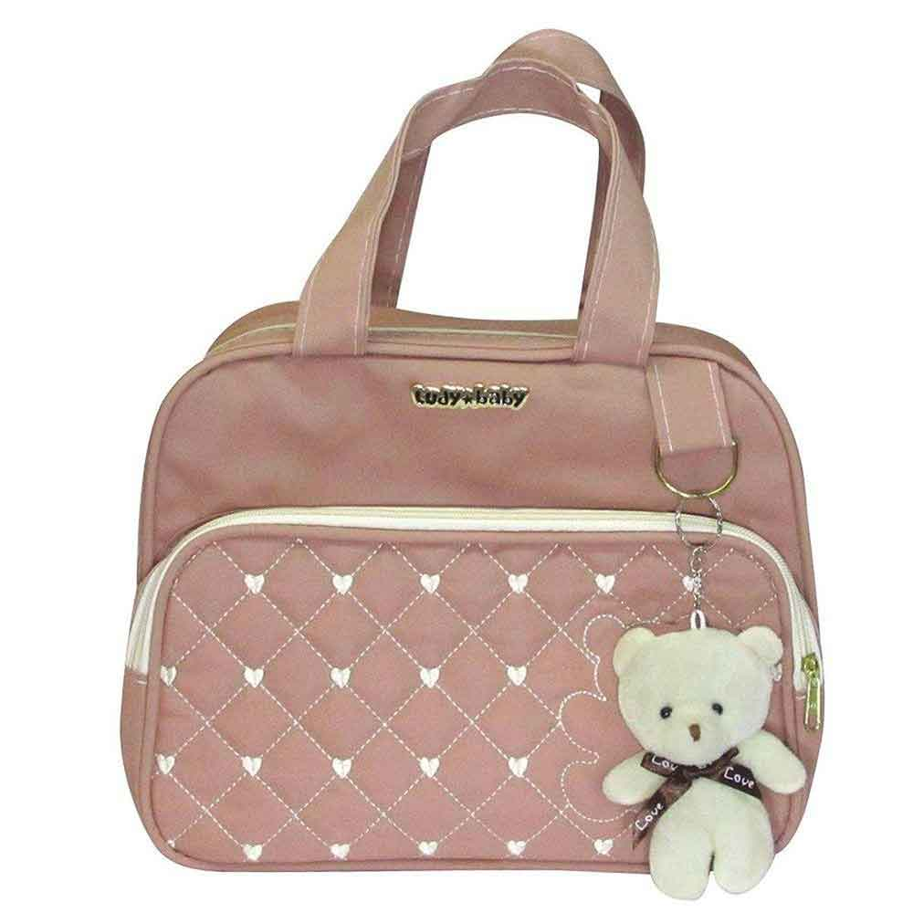 Kit Bolsa Maternidade Ursinha 4 Pçs Rosê LB. 8081