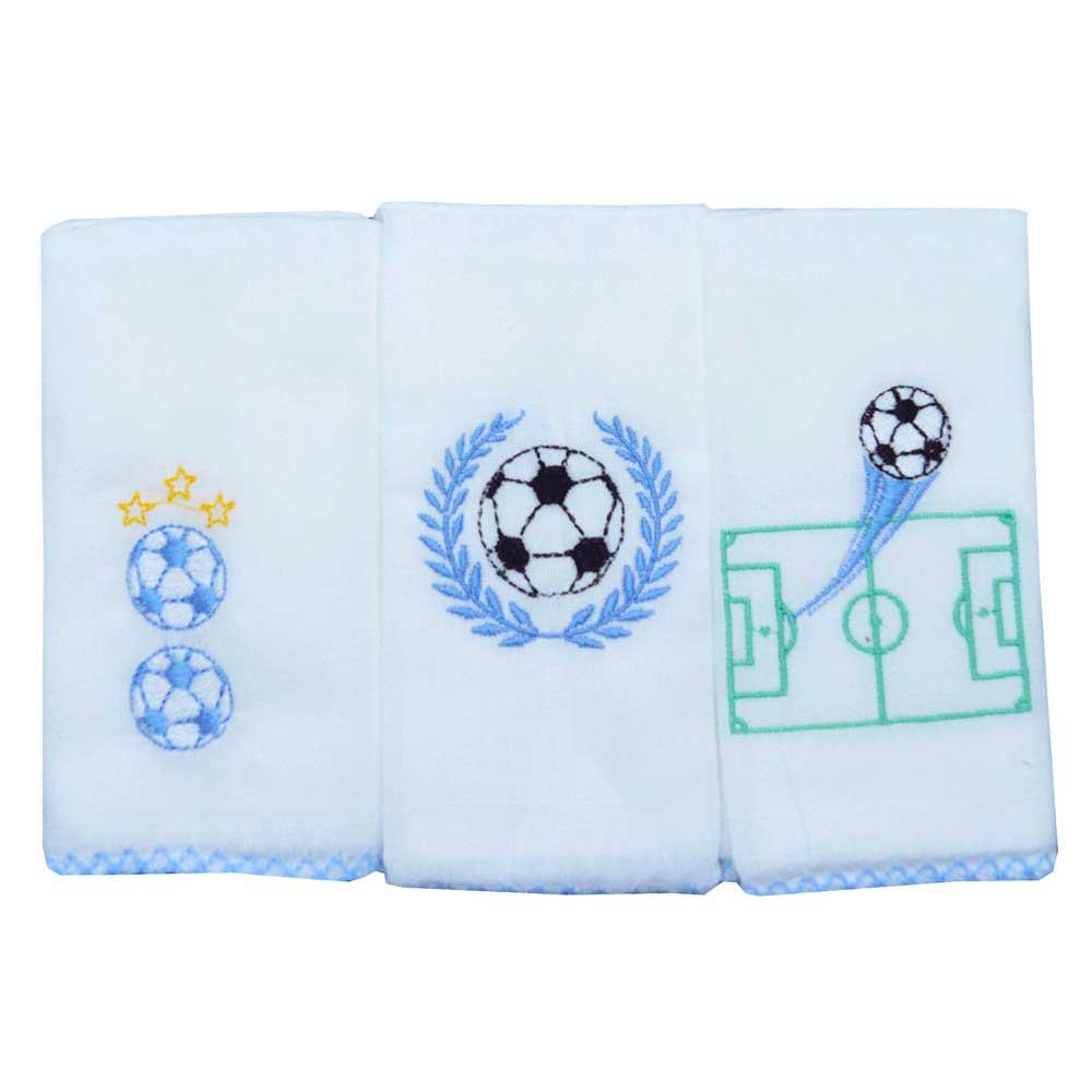 Kit Paninho de Boca Babete 40cm x 40cm Futebol Azul (3un)