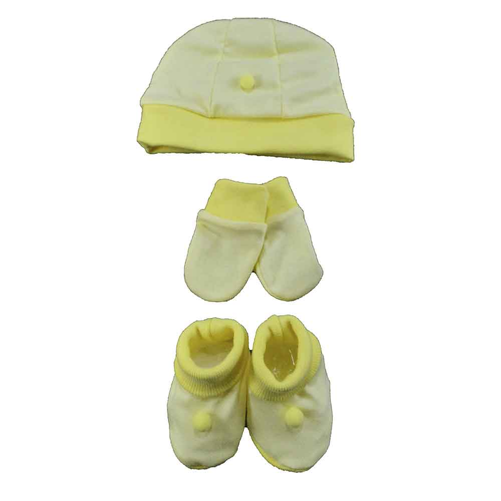 Kit Touca, Sapatinho e Luva Amarelo Malha
