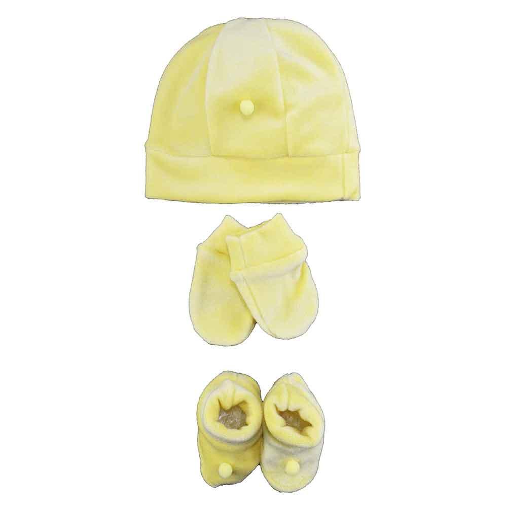 Kit Touca, Sapatinho e Luva Amarelo Plush