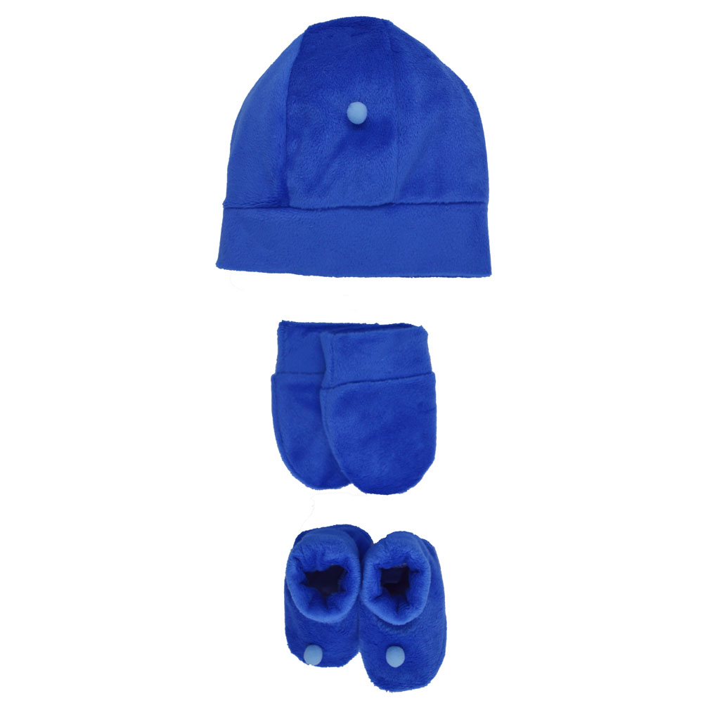 Kit Touca, Sapatinho e Luva Azul Bic Plush