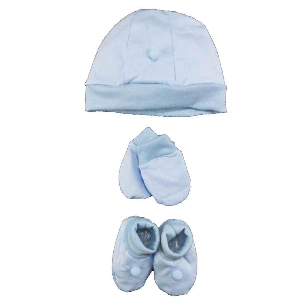 Kit Touca, Sapatinho e Luva Azul Malha