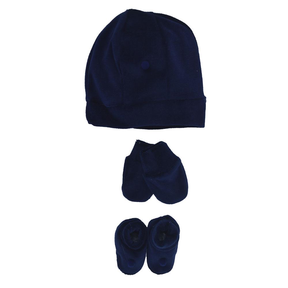 Kit Touca, Sapatinho e Luva Azul Marinho Plush