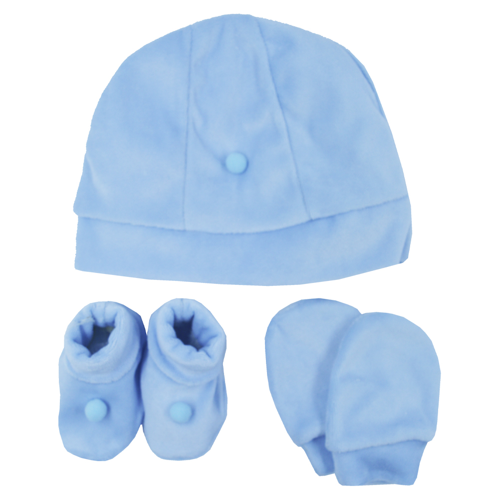 Kit Touca, Sapatinho e Luva Azul Plush