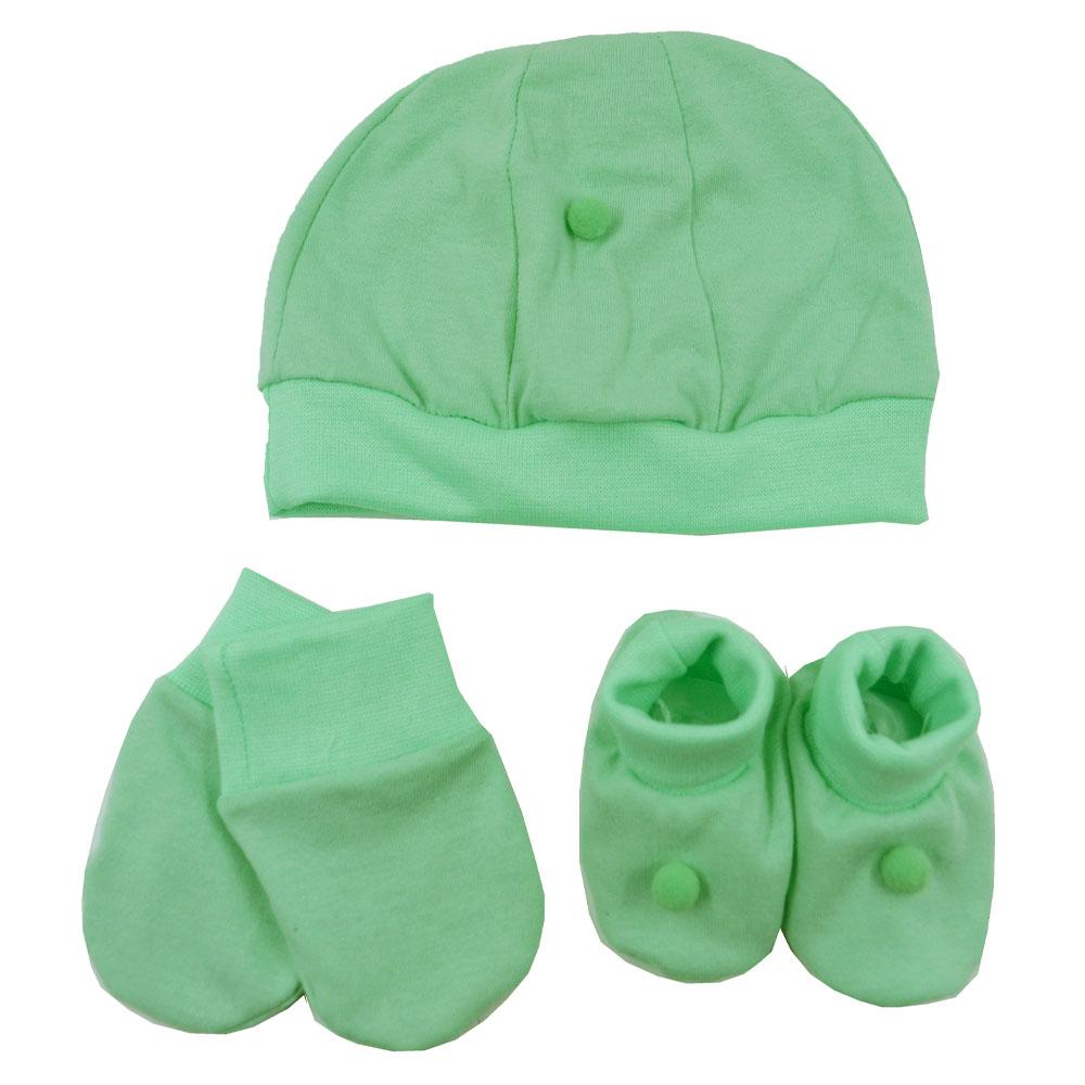 Kit Touca, Sapatinho e Luva Verde Malha
