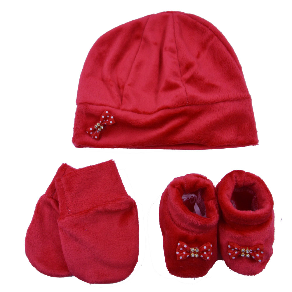 Kit Touca, Sapatinho e Luva Vermelha Laço Plush
