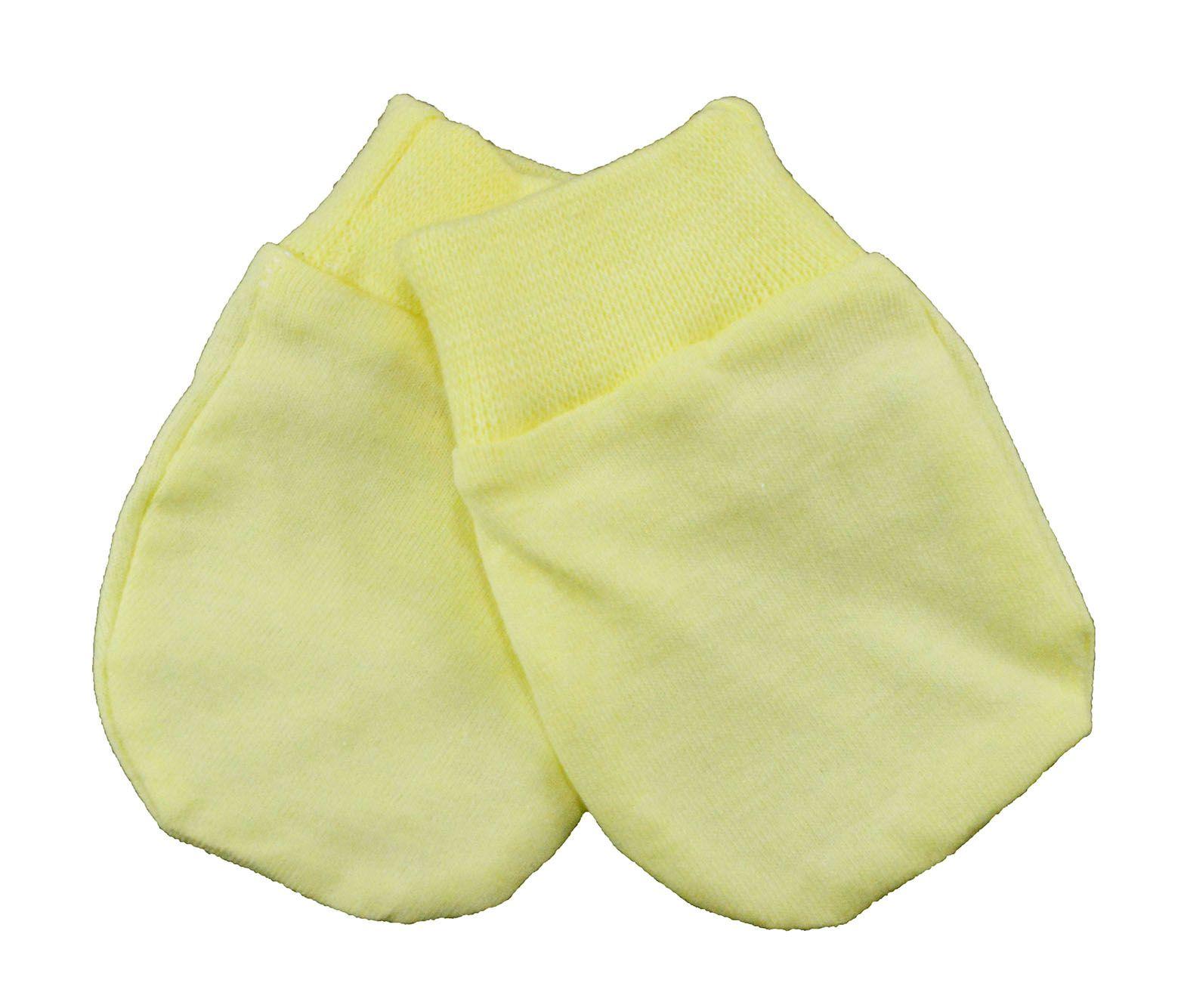 Luva de Bebê Malha Amarela Unissex
