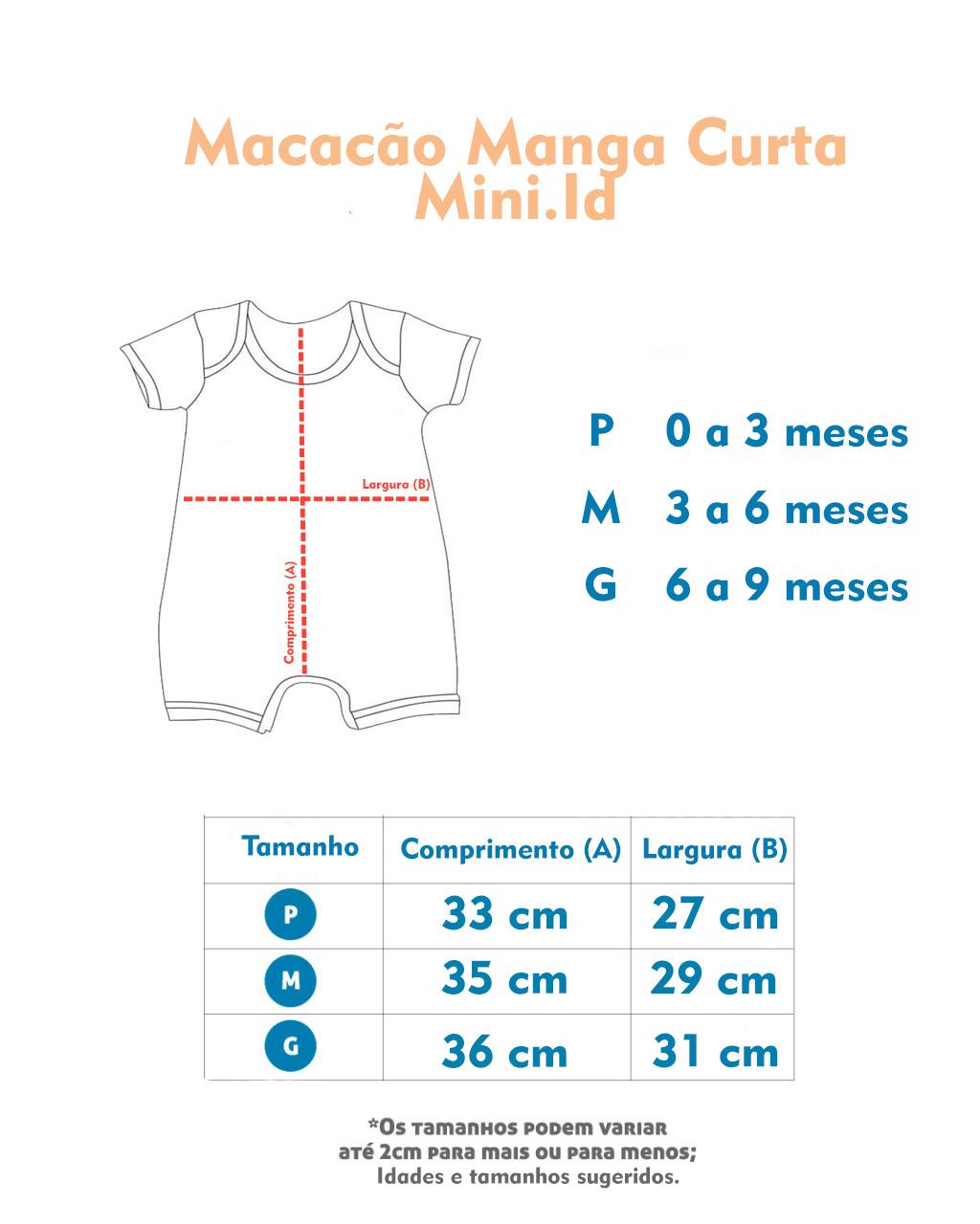 Macacão Curto 2Pçs Coelhinha Mini.id (P/M/G)