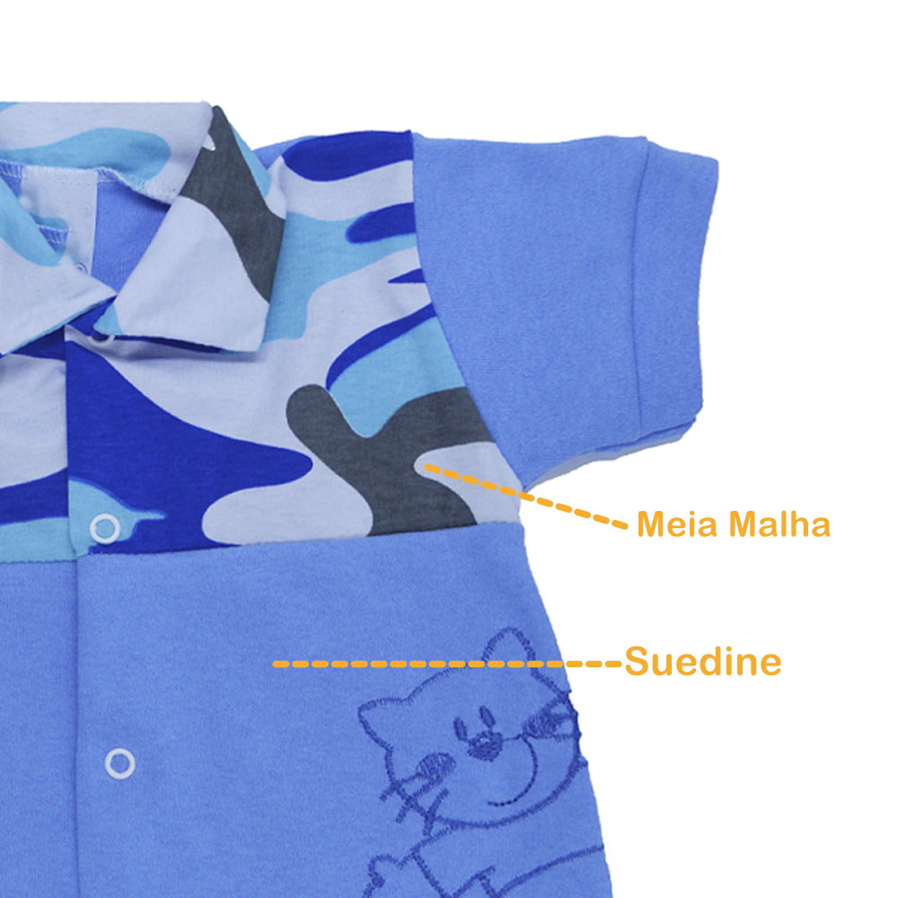 Macacão Curto Azul Camuflado (P/M/G)