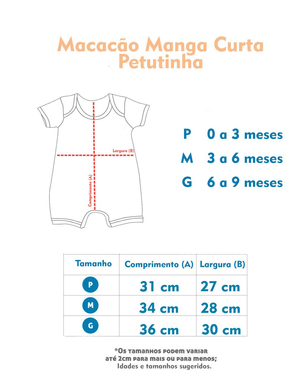 Macacão Curto Petutinha Raposa (P/M/G)