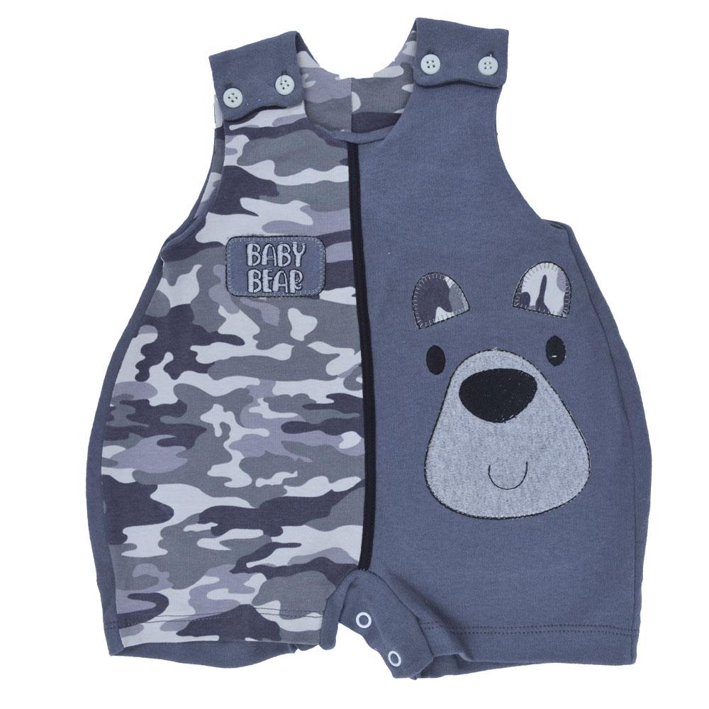 Macacão Curto Regata Petutinha Baby Bear Cinza (P/M/G)