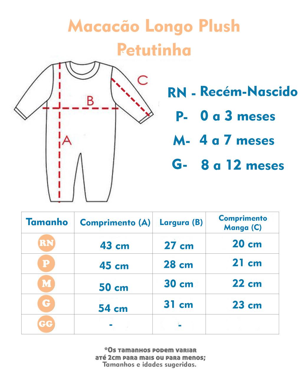 Macacão Longo Plush Petutinha Âncora (RN/P/M/G)