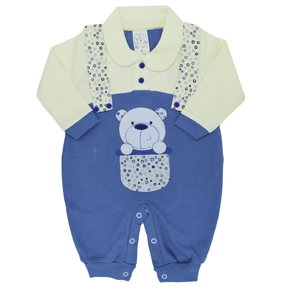 Macacão Longo Ursinho Azul Petutinha (P/M/G)