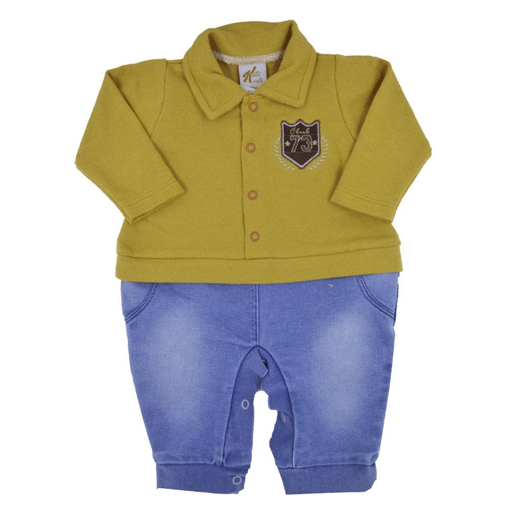 Macacão Passeio Longo Suedine Jeans Amarelo (RN/P/M/G)