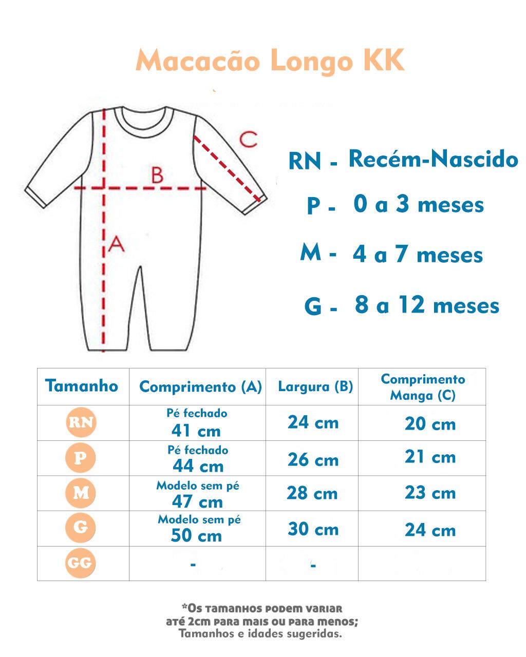 Macacão Passeio Plush Casaco Jeans Marinho (RN/P/M/G)