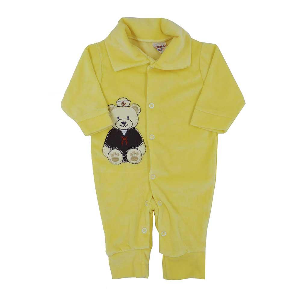 Macacão Plush Bordado Sem Pé Amarelo Masculino (P/M/G)