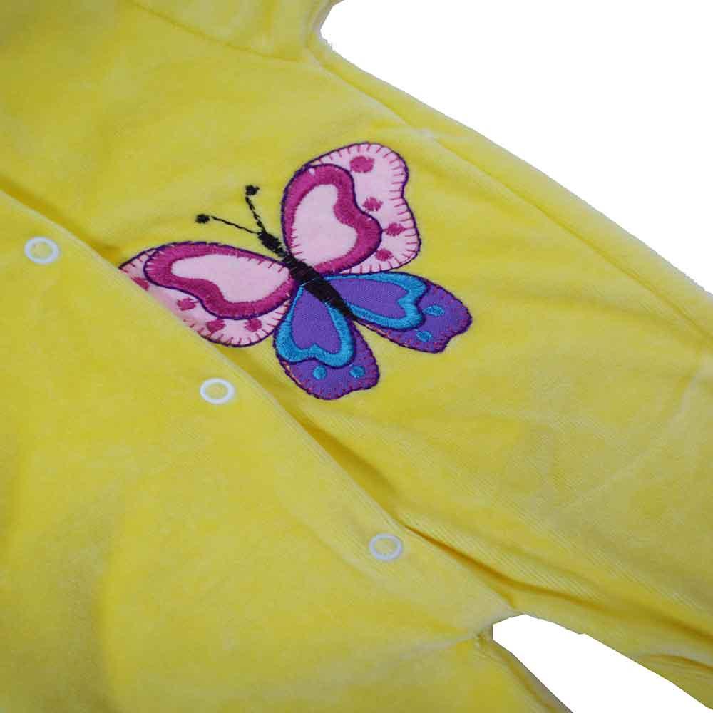 Macacão Plush Bordado Sem Pé Amarelo Feminino (P/M/G)