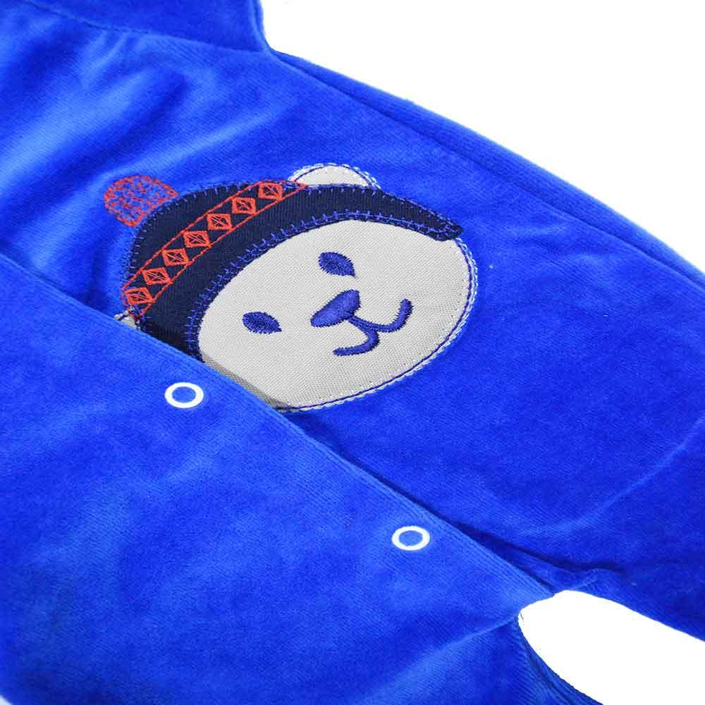 Macacão Plush Luxo Bordado Sem Pé Azul Bic (P/M/G)