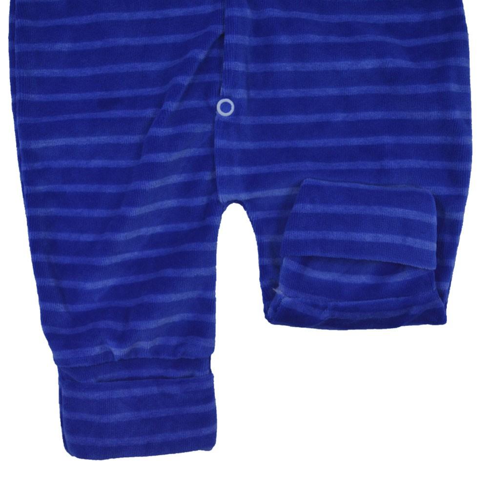 Macacão Plush Bordado Sem Pé Listrado Azul Bic (P/M/G)