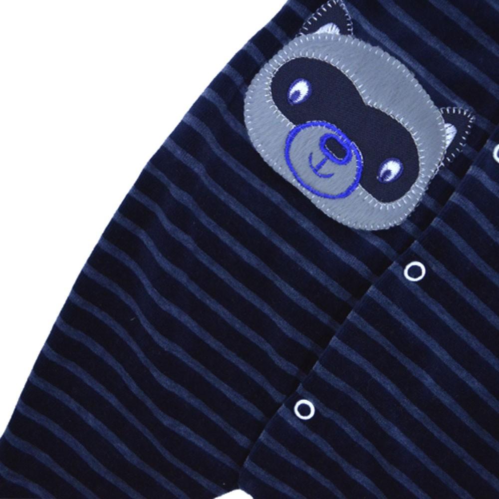 Macacão Plush Bordado Sem Pé Listrado Azul Marinho (P/M/G)