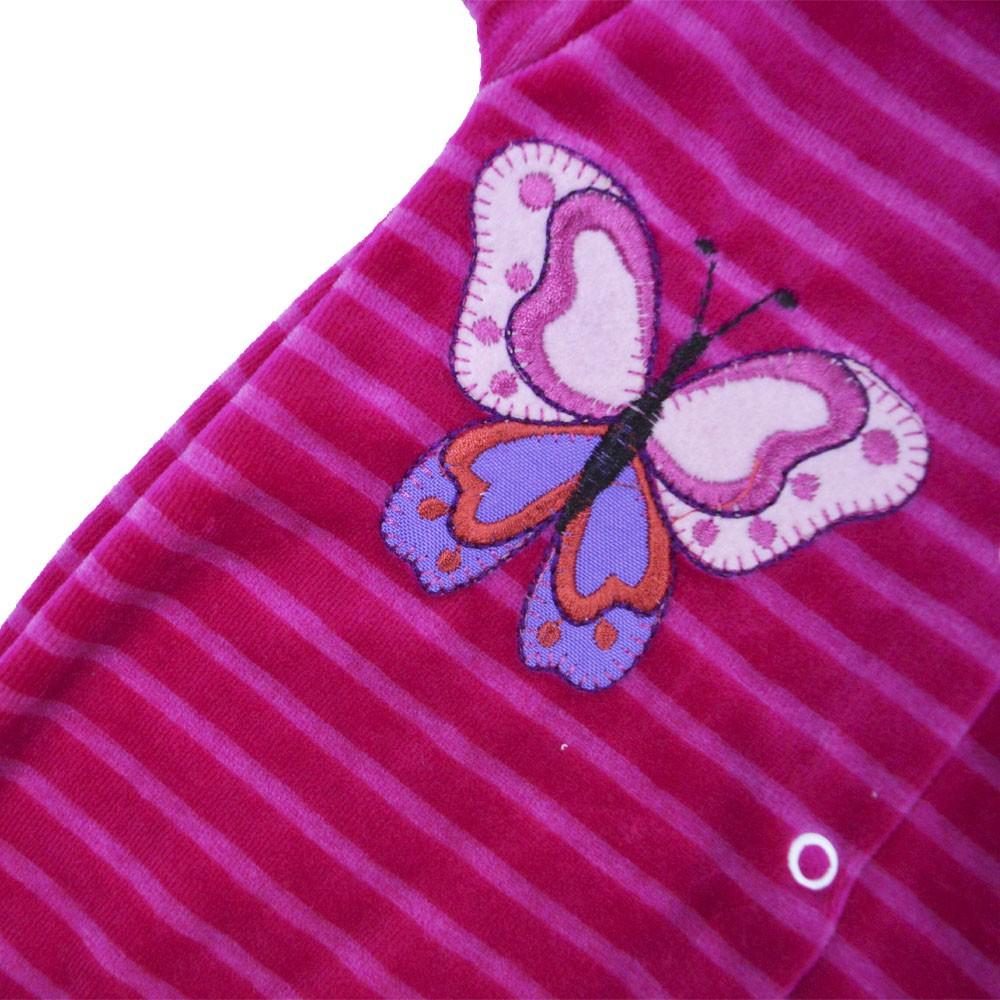 Macacão Plush Luxo Bordado Sem Pé Listrado Rosa Pink (P/M/G)