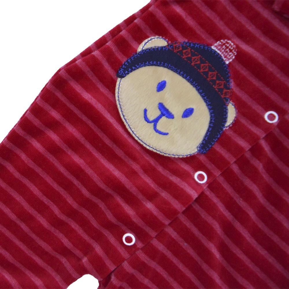 Macacão Plush Luxo Bordado Vira Pé Listrado Vermelho Masculino (P/M/G)