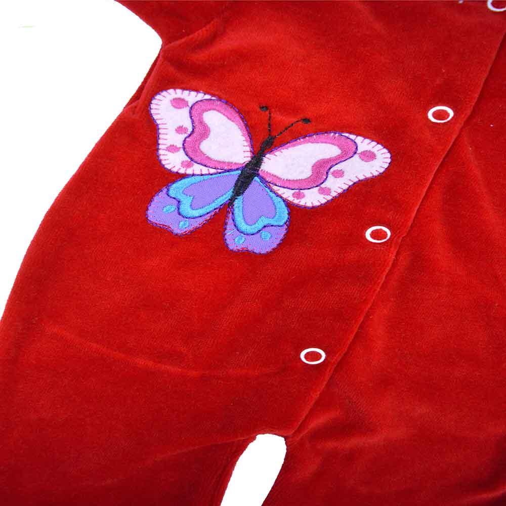 Macacão Plush Bordado Sem Pé Vermelho Feminino (P/M/G)