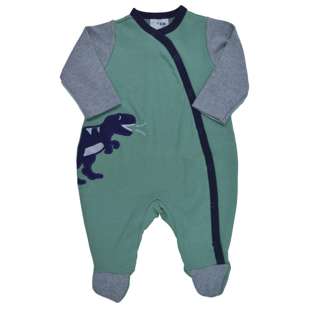 Macacão Suedine Longo Keli Kids Dinossauro (RN/P/M/G)