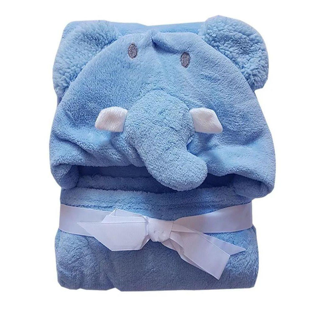 Manta com Capuz Elefante Azul Jolitex (75cm X 1m)