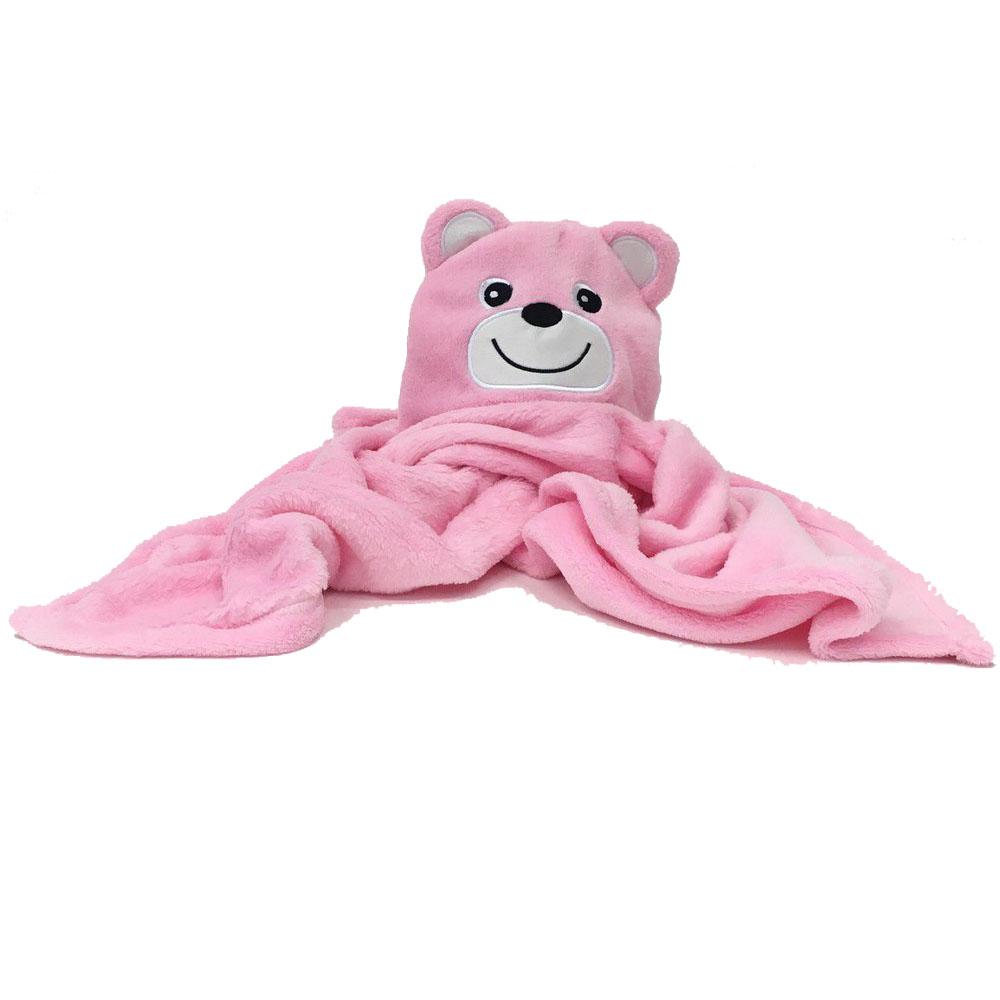 Manta com Capuz Urso Rosa Jolitex (75cm X 1m)