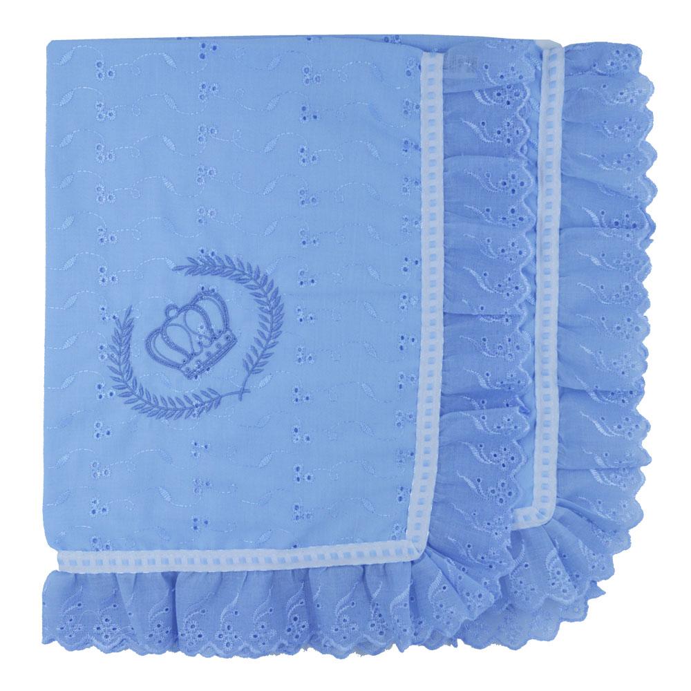 Manta De Leze Bordada Coroa Azul (80cm x 80cm)