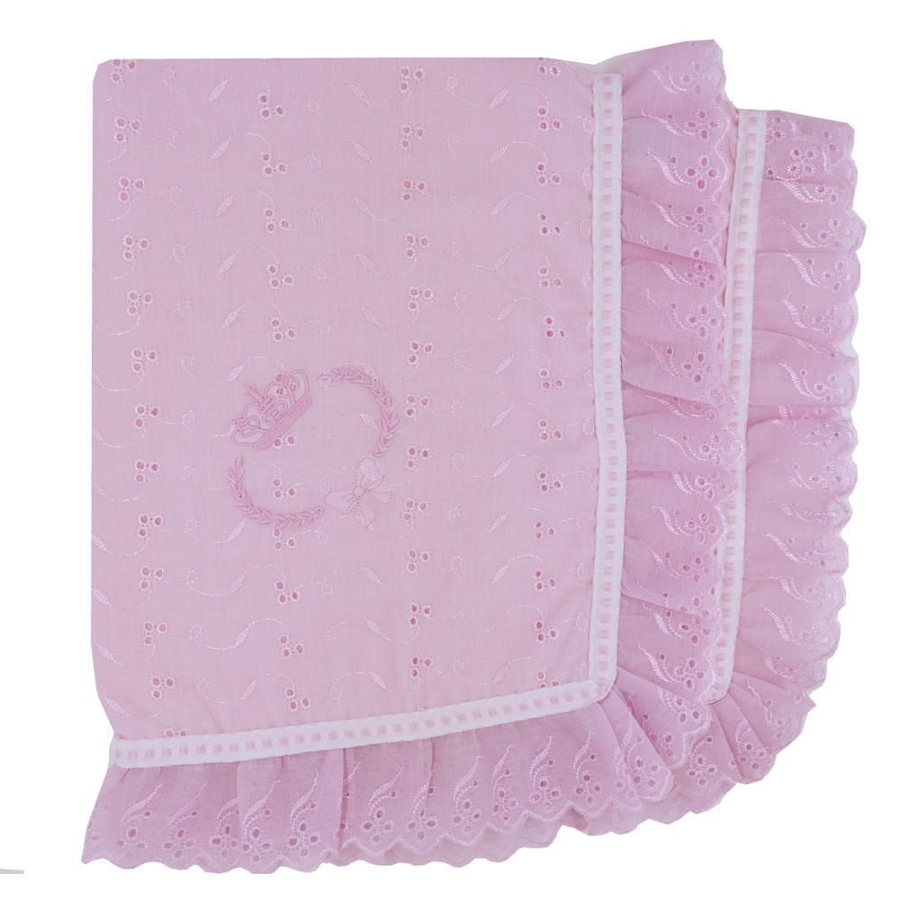 Manta De Lese Bordada Coroa Rosa (80cm x 80cm)