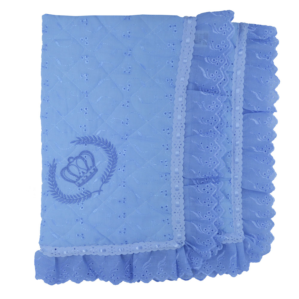 Manta de Leze Matelada Luxo Bordada Coroa Azul  (90cm x 80cm)