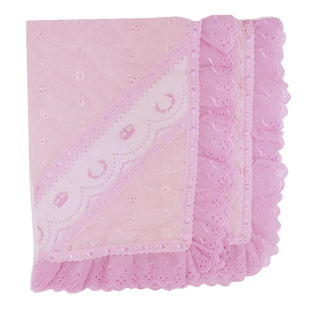 Manta de Lese Matelada Luxo Bordada Coroa Rosa  (90cm x 80cm)