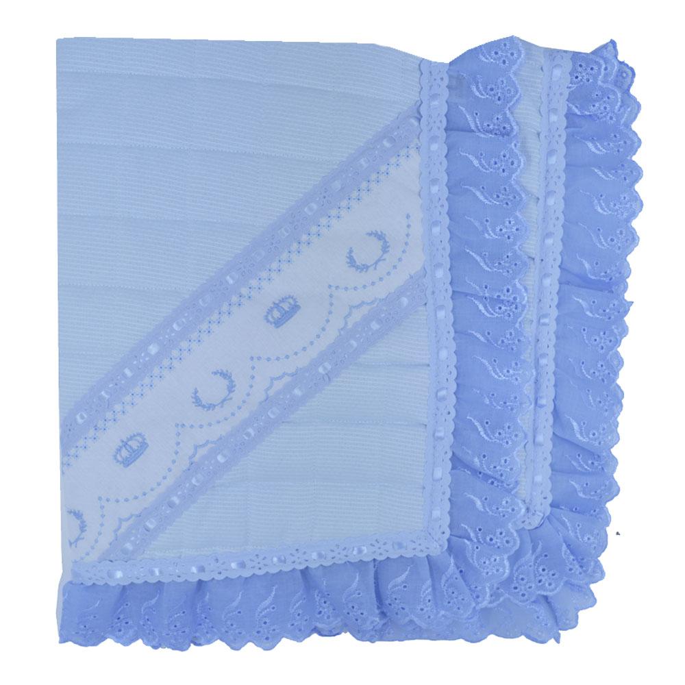 Manta de Pique Matelada Luxo Bordada Coroa Azul  (90cm x 80cm)