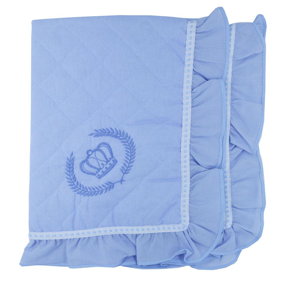 Manta Matelada Bordada Coroa Azul (90cm x 80cm)