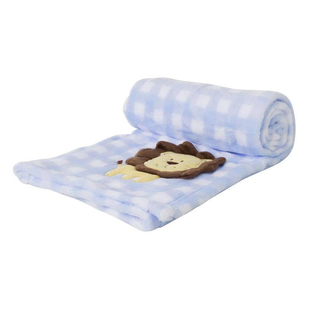 Manta Soft para Bebê Loani Azul Xadrez Leão