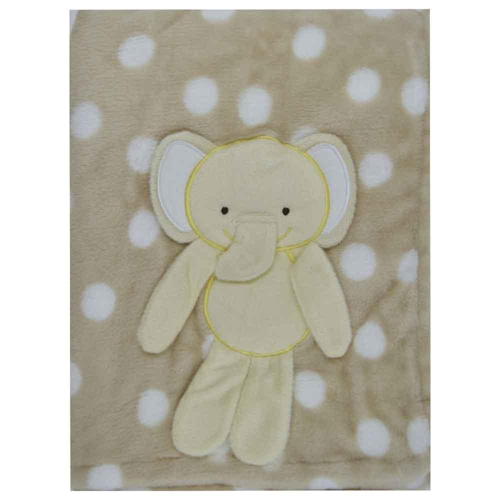 Manta Soft para Bebê Loani Bege Elefantinho (1m x 0,75m)