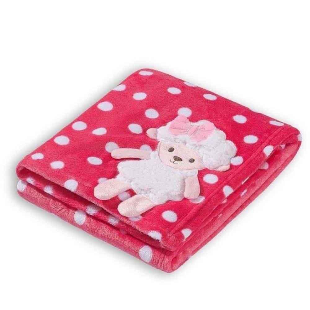Manta Soft para Bebê Loani Ovelinha Pink Poá