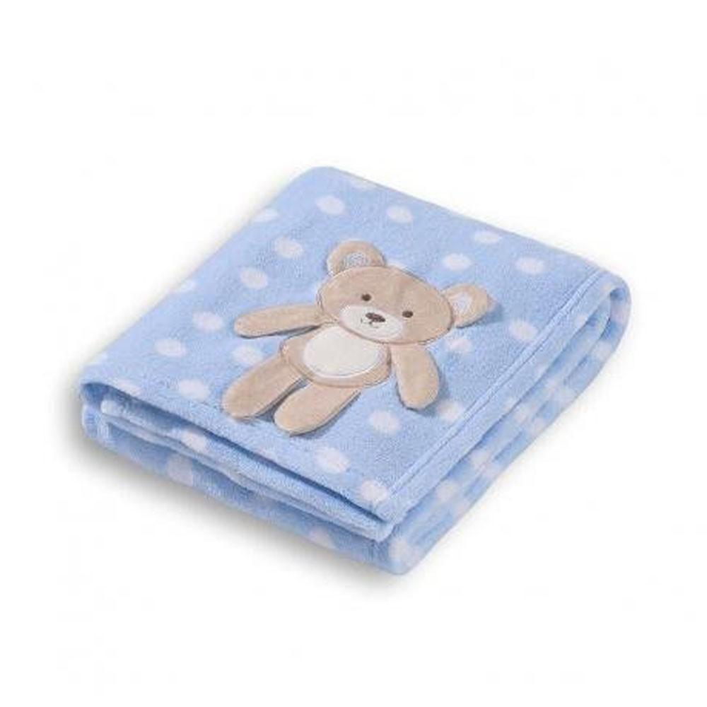 Manta Soft para Bebê Loani Ursinho Poá Azul